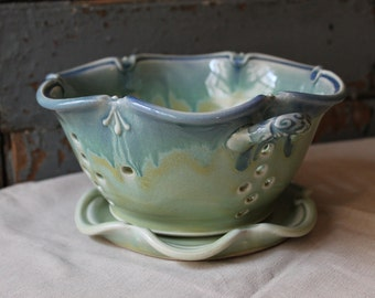 Berry Bowl, Green with blue drippy rim, Colander, strainer, Wedding Gift, IN STOCK, ready to ship