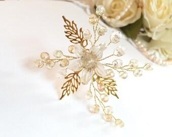 Bridal hair pin, gold headpiece wedding, gold hair pin, flower hair pin, wedding headpiece, wedding hair pin, wedding hair pins