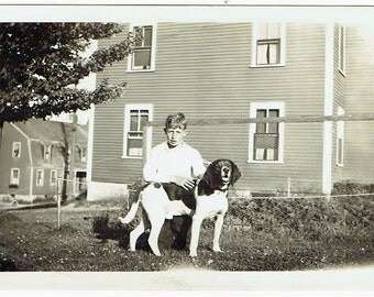 A Boy And His Dog!!! Antique Snapshot Photo of Boy Wityh His Dog Outside