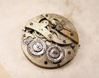 Rare antique brass pocket watch movement - c53