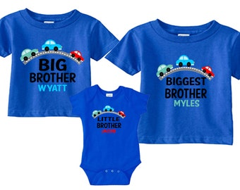 Biggest Brother, Big Brother, Little Brother Shirts Sibling Set with Transportation Tees