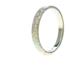 Sterling Silver Flat Wedding Band Distressed Bark Ring 2mm Stacking Ring Stackable Rings 2mm All Us Sizes