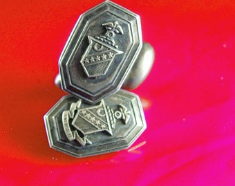 ANTIQUE Kappa Sigma Cufflinks STERLING Rare cuff links Duke university Fraternity Vintage Greek College Baldassare