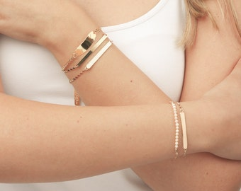 White and Gold Bracelet Bar Bracelet dainty layering skinny bar bracelet friendship gold filled bracelet.