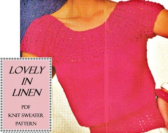 Digital Download Knitted Linen Top Pattern - Sz 6-12 Cool Comfort Style Shell Knit PDF Pattern File Knitting Supplies Craft Supplies