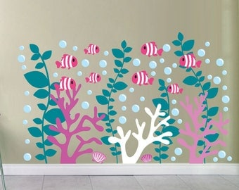 Coral Reef Decals - Coral Wall Decal- Under the Sea Decals - Fish Decals - School of Fish Decals - Clown Fish Decals