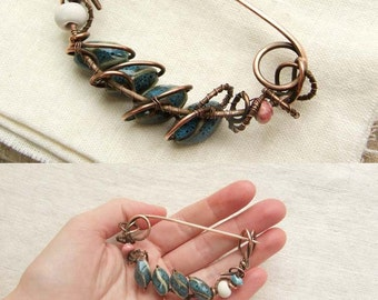 """Copper Shawl Pin """"Seeds"""", with blue, white and pink ceramic beads, wire wrapped Brooch"""