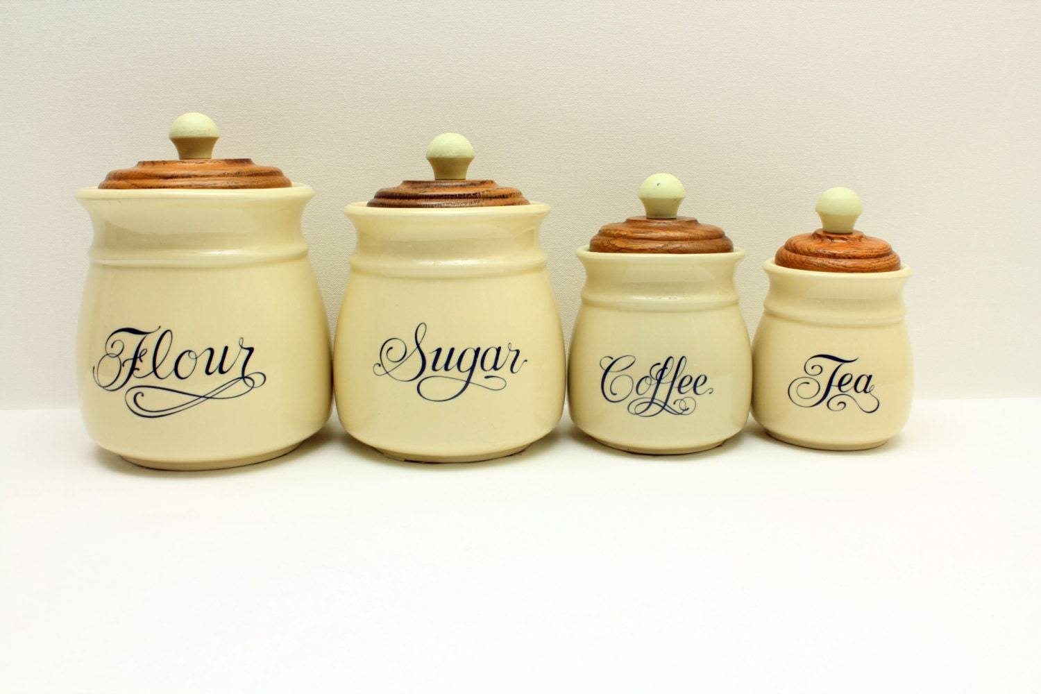 flour sugar coffee tea containers jars matching container. Black Bedroom Furniture Sets. Home Design Ideas