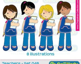 60% off Teachers Clip Art, school clipart, teachers illustrations, teacher images, kindergarten teachers Set 046