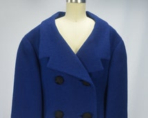 1960s Classic Blue Wool Cropped Double Breasted Jacket From Montaldo's