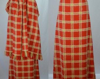 """1970s Winter Beauty Angora, Wool & Gold Lurex Maxi Skirt and Matching Shawl Waist 30"""""""