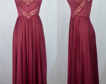 1970s Olga Burgundy Gown with Huge Sweep and Lovely Lace