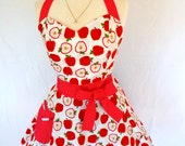 Apple Pinup Apron Rockabilly Retro Style with Red Polka Dot Sweetheart