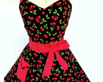 Cherry Pinup Apron Rockabilly Retro Style with Red Polka Dot Sweetheart