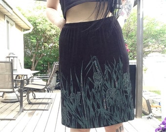90s DEADSTOCK Stretchy Skirt With Jungle Print and Bling~