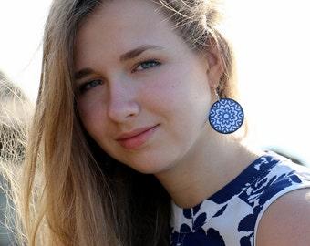Blue white earrings, gift for her, navy blue, dangling earrings, hippie chic jewelry, statement earrings, gypsy chic lightweight earrings