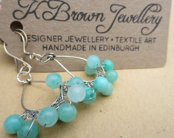 Gemstone Beaded Earrings, Handmade Earrings, Designer Earrings, Green Chandelier Earrings, Edinburgh Jewellery Designer, Handmade Earrrings