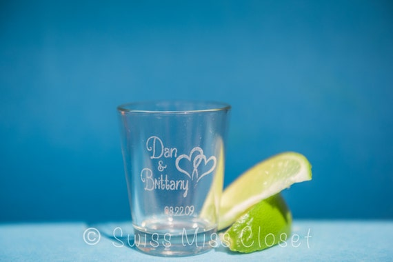 Set of 24 Custom Etched Shot Glasses Personalized Wedding Favor Groom's Men Gift