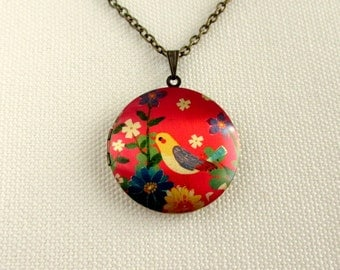 Colourful Locket, Flowers and Bird, Red, Floral, Long Chain Brass Altered Art Necklace