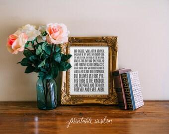 Lord's Prayer Printable Wisdom scripture Bible verse Art Print, typographic print, wall art print typography, The Lord's Prayer print