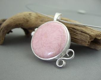 Pale Pink Rhodochrosite Sterling Silver Pendant
