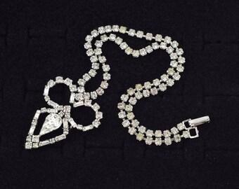 Jay Flex Sterling Silver Rhinestone Necklace 1960's Vintage Costume Jewelry ~ Lot 9275