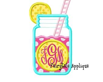 Digitial Machine Embroidery Design - Pink Lemonade With Monogram Applique