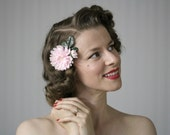 "Pink Flower Clip Hair Accessory, 1950s Fascinator, Small Floral Hairpiece, Retro, Vintage Chrysanthemum - ""Tickle Me Pink"""