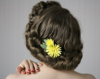 """Yellow Flower Clip Hair Accessory, 1950s Floral Hairpiece, Small Fascinator, Chrysanthemum Daisy - """"Dancing at Daybreak"""""""