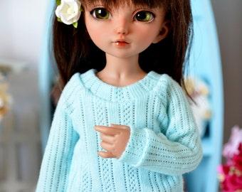Aqua sweater for Littlefee and similar sized YOSD BJDs