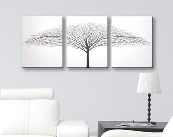 SALE Wall Art Canvas Painting Home Decor Modern Art White Original Paintings Tree Paintings Black and White Trees Wall Decor 36x16