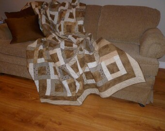 Brown & Cream Patchwork Quilt