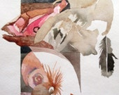 "Tortem Series: ""  A Balancing Act ""  Original, one of a kind watercolor/mixed media"