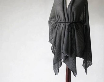 READY to SHIP! gray poncho, open poncho, wrap sweater, wrap poncho, linen sweater, linen cape, women poncho, women sweater, linen scarf