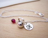 Kettlebell Workout Gym Charm Swarovski Birthstone Initial Personalized Sterling Silver Necklace / Gift for Her