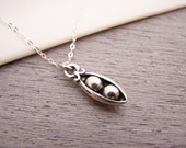 Dainty Two Pea Pod Charm Sterling Silver Necklace Simple Jewelry Everyday Necklace / Gift for Her / Pea Pod Necklace