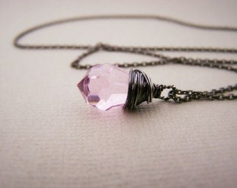 Pink Swarovski Crystal Wire Wrapped Briolette - Oxidized Sterling Silver Necklace - Teardrop Necklace - Black Silver Necklace - Gift for Her