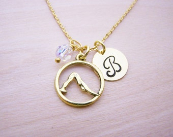 Yoga Necklace - Gold Initial Necklace - Birthstone Necklace - Gold Initial Necklace - Personalized Necklace - Yoga Charm