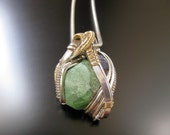 Reserved, First payment, Wire Wrapped Crystal Pendant with Tsavorite Garnet, Tanzanite, and Spessartine Garnet