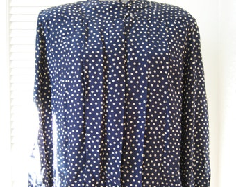 Blue and cream polka dot silk blouse. Size L to XL.