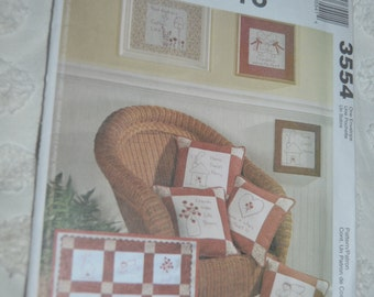 McCalls 3554 Redwork Crafts Sewing Pattern - UNCUT - Wall Quilt - PIllows and Wallhanging