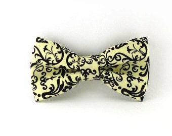 Clip on bow tie – mens or womens - black and cream damask print - cotton fabric – adult or teen size - wedding groomsmen French theme bowtie
