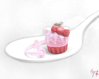 Kitty Cupcake Charm Dust Plug, Cellphone Food Accessory, Foodie gift, Pink Cupcake charm, Teenager gift, Kawaii Cupcake, Cartoon phone plug