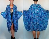 Vintage 70s Draped Silk Cocoon Kimono Egyptian Cape Jacket. Boho Avant Garde Indian Artsy sheer Blue Maxi Dress Duster w/ Cascading Front OS