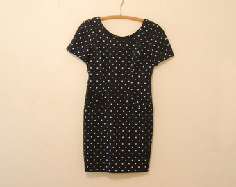 Black and White Polka Dot Mini Dress - Late 80s/Early 90s