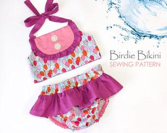 Cute baby swimsuit pattern, Baby sewing pattern PDF, Romper sewing pattern, toddler swimsuit pattern, diaper cover pattern BIRDIE BIKINI