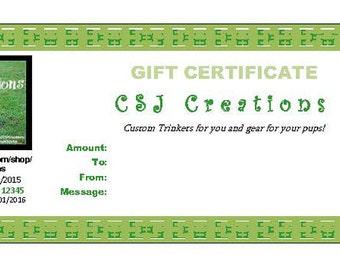 CSJ Creations' Digital Gift Certificate