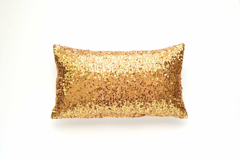 Gold Sequin Lumbar Pillow Cover 12 X 20 Taffeta Sequin