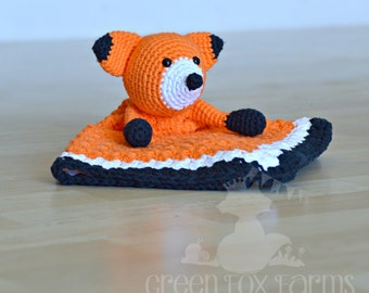 Fox Blanket Lovey,  Crochet Fox Baby Blanket,   Fox Baby Shower Gift