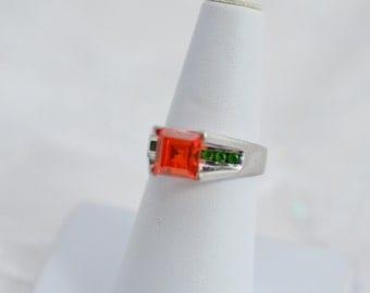 Orange And Green Rhinestone Sterling Silver Ring 925